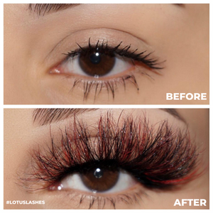 afterglow colored mink lashes all night red black false eyelashes lotus lashes before and after