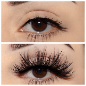 vixen 25 mm faux mink lashes false eyelashes lotus lashes before and after