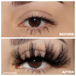 afterglow 25mm flex mink lashes false eyelashes before after