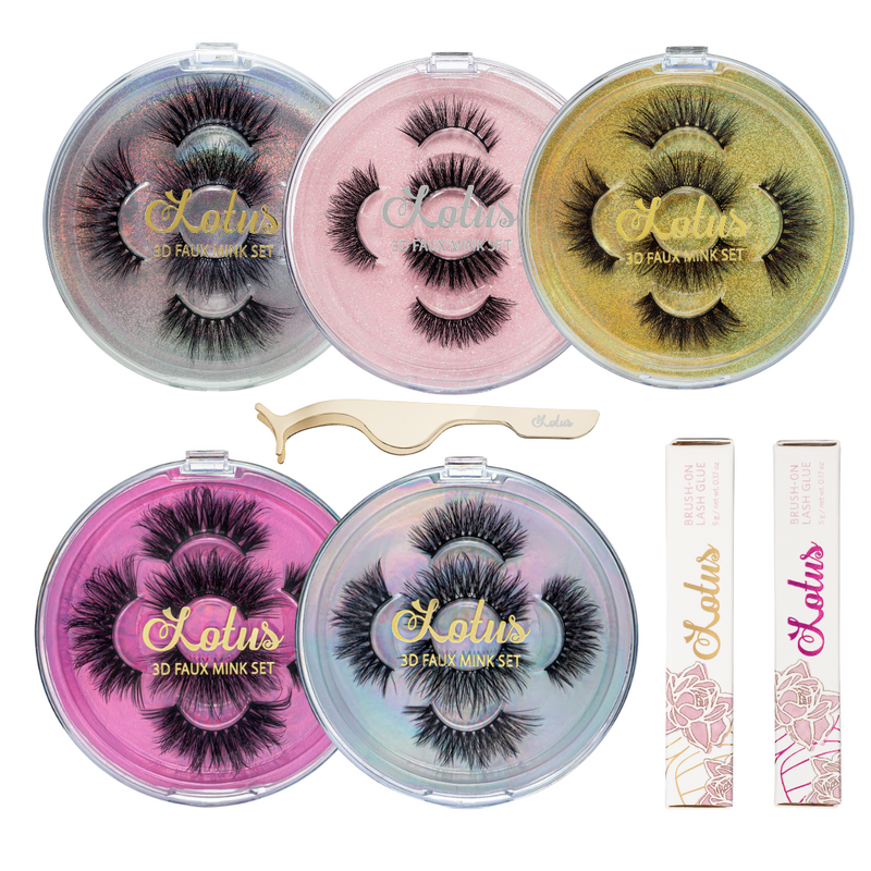 faux mink lash set bundle false eyelashes lotus lashes