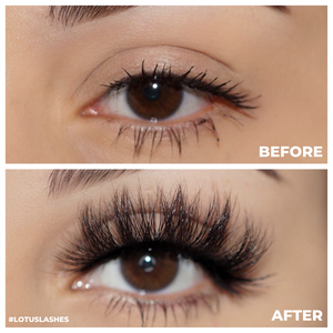 royalty 3d mink lashes false eyelashes afterglow lotus lashes before and after