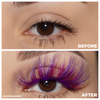 afterglow colored mink lashes stardust hot pink purple false eyelashes lotus lashes before and after