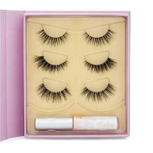 All of Me Lash Kit 3D Invisible clear band mink lashes lotus lashes close up