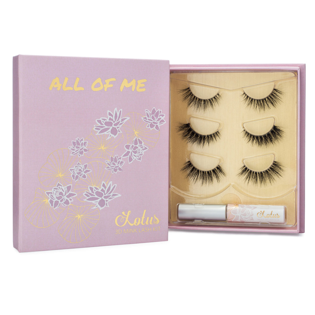 All of Me Lash Kit 3D Invisible clear band mink lashes lotus lashes