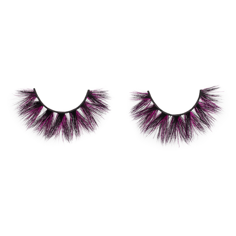 afterglow edm colored mink lashes purple mink eyelashes lotus lashes swatch