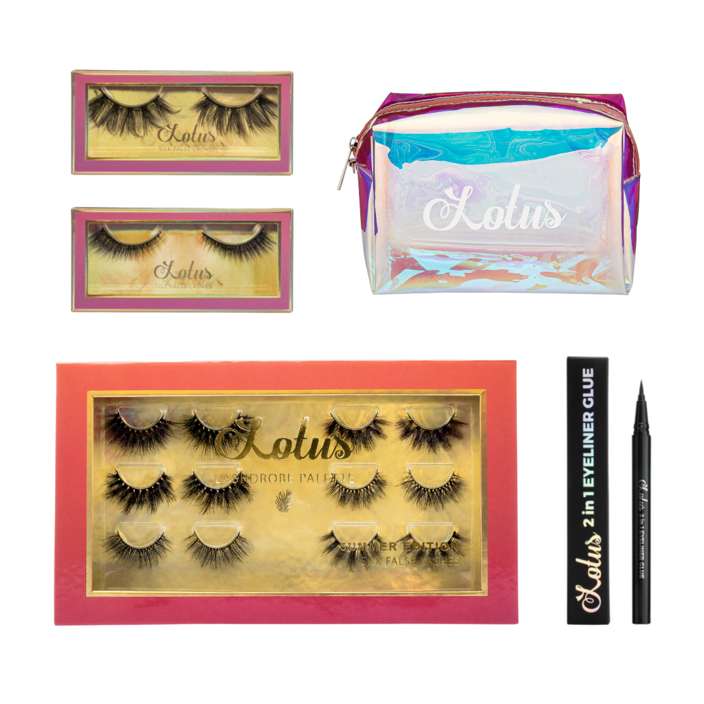 summer essentials bundle silk false eyelashes faux mink lashes lotus lashes