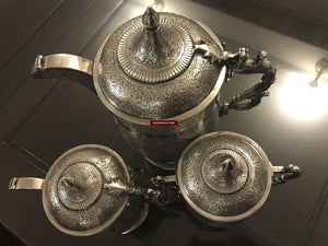 1356 Old Kashmir Finely Crafted Silver Tea Service - Masterpiece -ART-GALLERY-INTERIOR-HOME-DECOR-FASHION-STYLE-MUSEUM