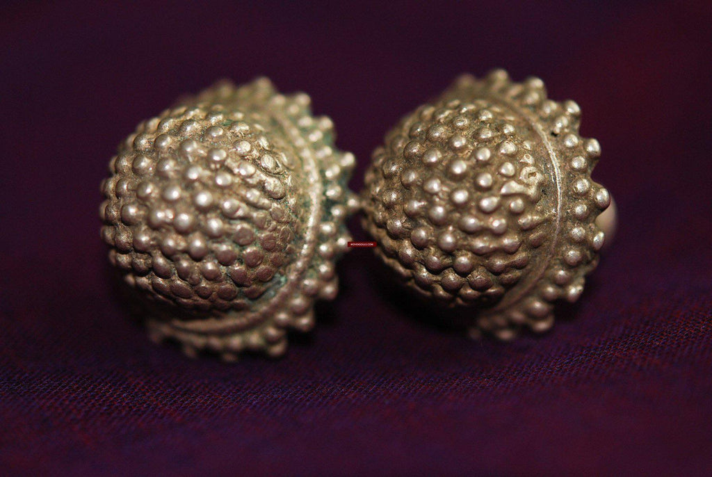 337 Antique Silver Pipe Earrings Indian Jewelry - WOVENSOULS