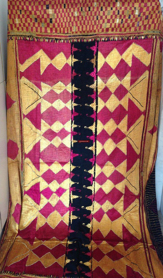 636 Superb Antique Sar Pallu Phulkari Textile - WOVENSOULS