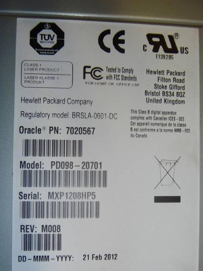 Oracle 7020567 LTO4 FC Tape Drive Label