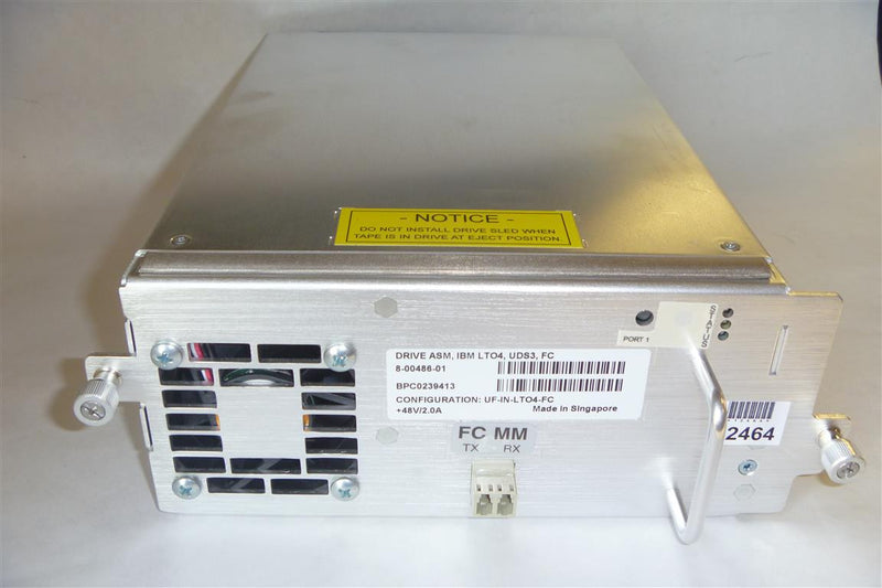 Quantum 8-0486-001 LTO4 FC Tape Drive With Tray i500 i2000 i6000 95P4779  Quantum UF-IN-LTO-FC Tape Drive IBM 95P4779