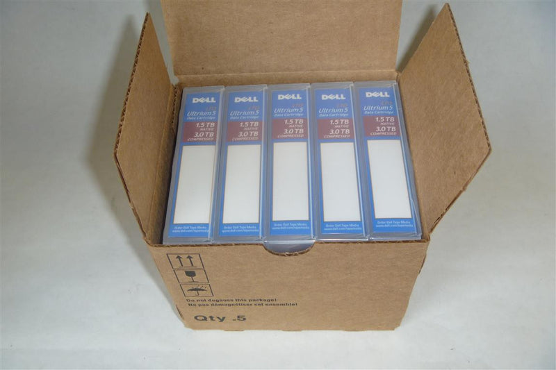NEW Not Refurbished. DELL FHMTN 5 Pack LTO5 Tape Media Cartridges