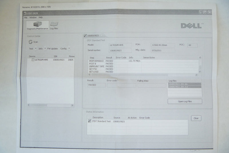 DELL X0G0R LTO5 HH Dual SAS V2 External Tape Drive Test Report