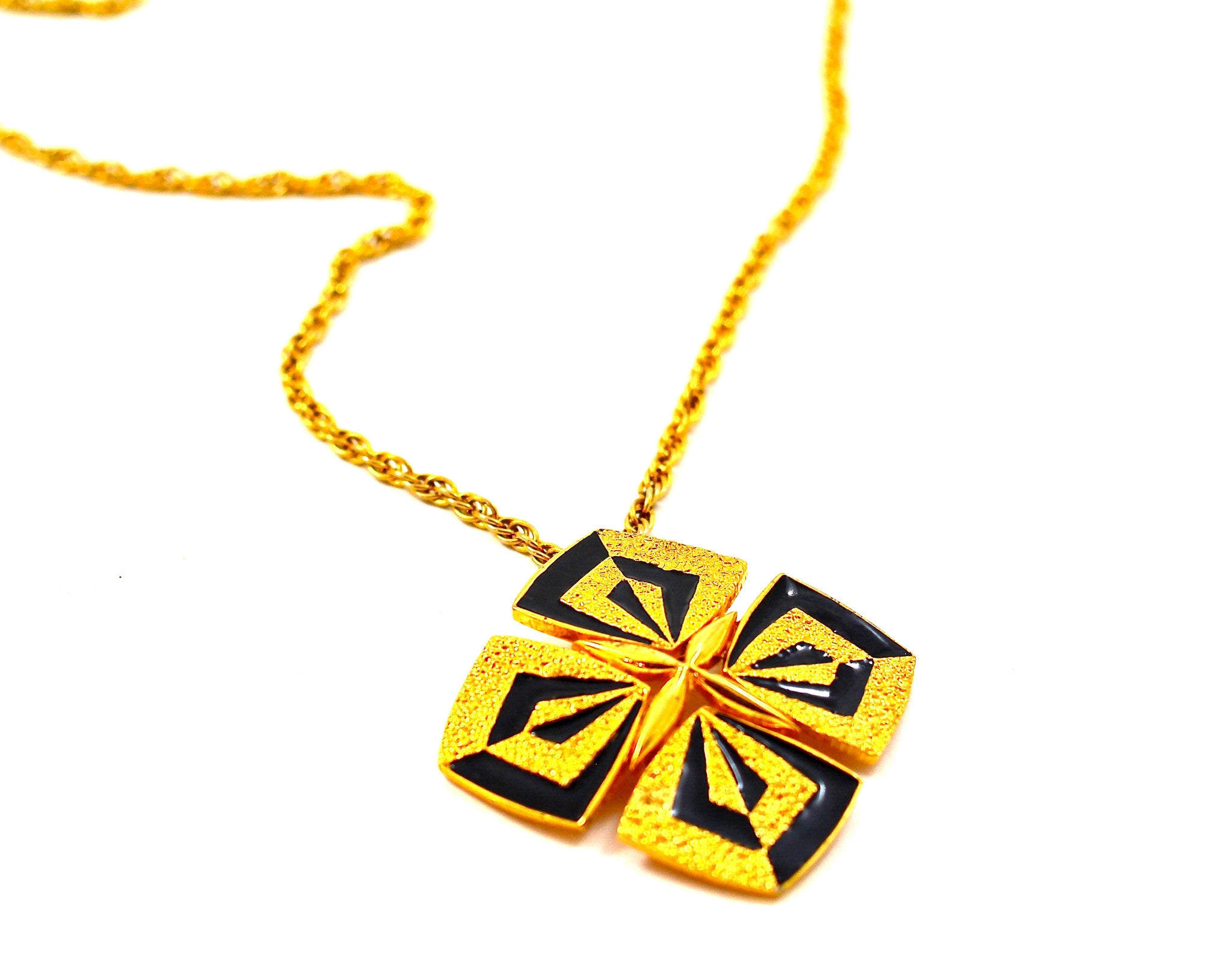 JOMAZ BLACK AND GOLD PENDANT NECKLACE
