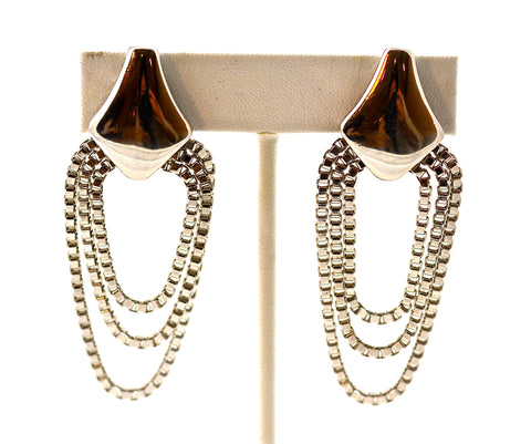 YSL SILVER DANGLE EARRINGS