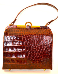 BROWN CROCODILE PURSE FROM THE FORTIES
