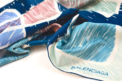 BALENCIAGA INTERLOCKING SQUARES SILK SCARF