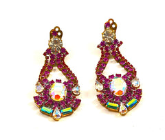 BIJOUX MG COLORED CRYSTAL CHANDELIER EARRINGS