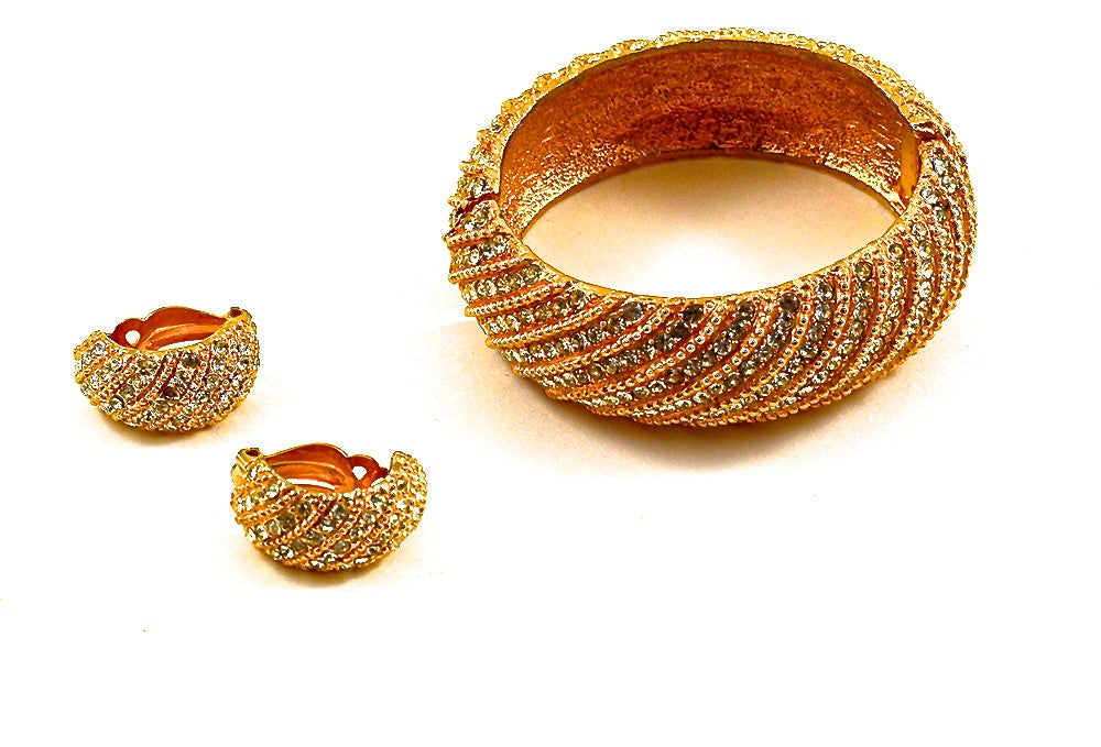 LES BERNARD GLIMMERING CUFF AND EARRINGS
