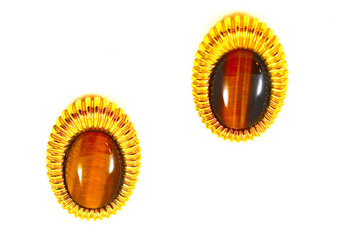 CINER TIGER EYE RIBBED EARRINGS