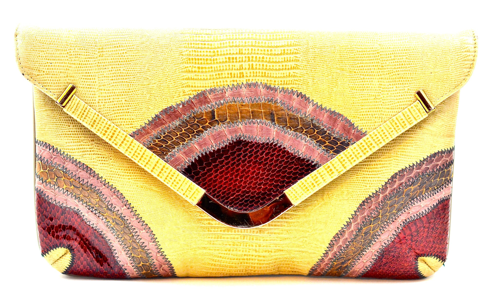 CAPRICE LIZARD AND PATCHWORK SNAKESKIN CLUTCH