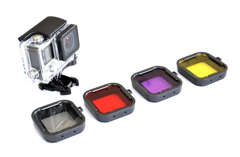 4 Pack Diving Filters for GoPro Hero 4 and 3+ Underwater Lens Color Correction