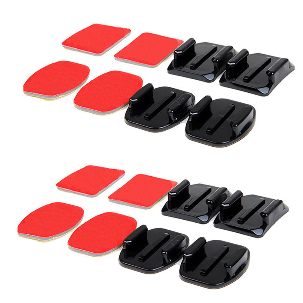 8 Pack Curved and Flat Base Mounts with 3M Sticky Adhesive For GoPro Hero Cameras