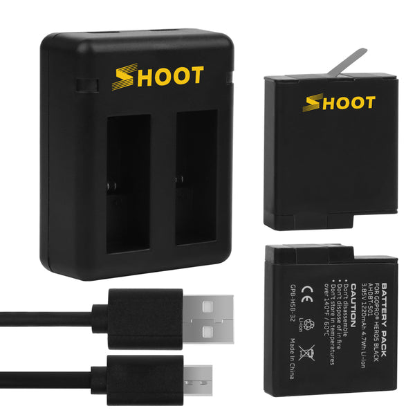 2X GoPro Hero 5/6/HERO 2018 Replacement Batteries 1220mAh with 2 Port Charger and USB Cable