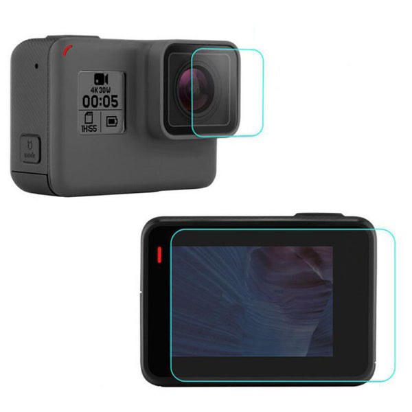 Tempered Glass Protection - Front Lens and Rear LCD Covers for GoPro Hero 5/6/HERO 2018