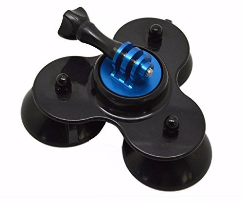 Secure Low Profile Triple Suction Cup GoPro Mount - Red or Blue