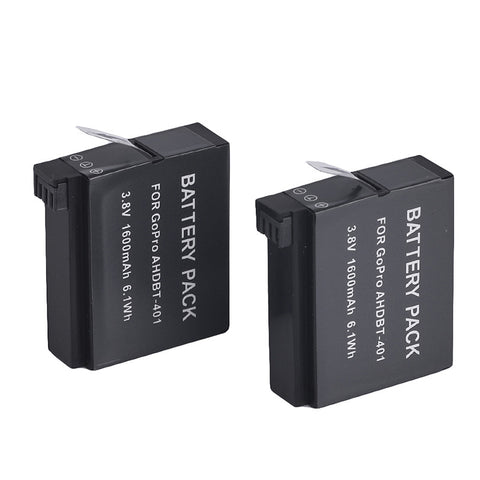High Capacity 1600mAh 3.8V Li-ion Batteries with dual USB Charger for GoPro Hero 4