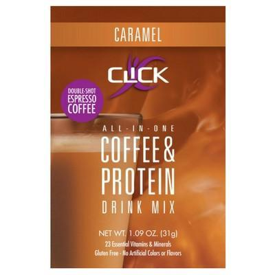 CLICK: Coffee & Protein Powder, All-in-One Single-Serving Packet CLICK All-In-One Protein & Coffee Meal Replacement Drink Mix, Sample Packet, Caramel Flavor