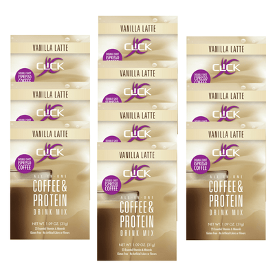 CLICK Coffee Protein Coffee Protein Powder CLICK All-In-One Protein & Coffee Meal Replacement Drink Mix, 10 Packets, Vanilla Latte