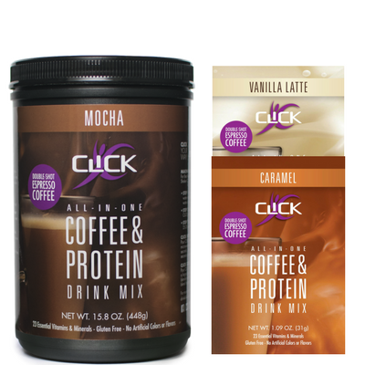 CLICK Coffee & Protein, Single Canister Plus 2 Single Serving Packets