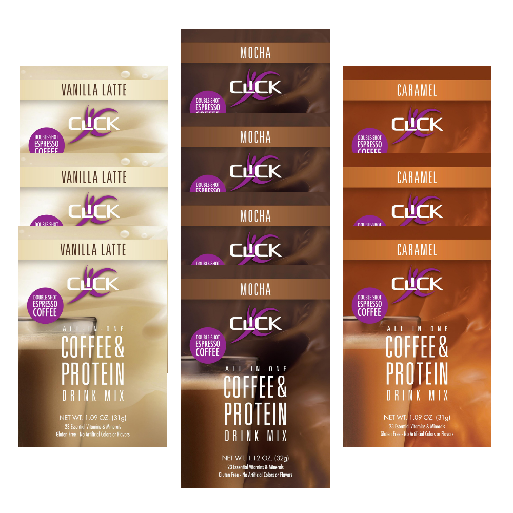 CLICK Coffee Protein Variety Pack, 10 Single-Serve Packets, All 3 Flavors