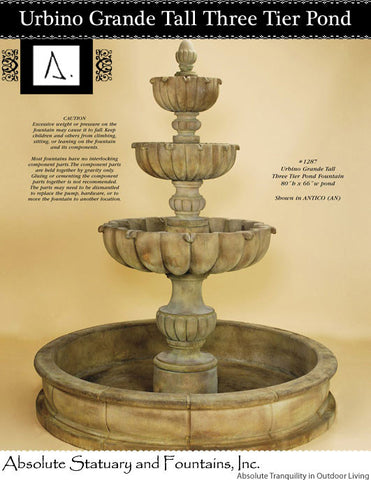 Urbino Grande Tall Three Tier Pond Fountain