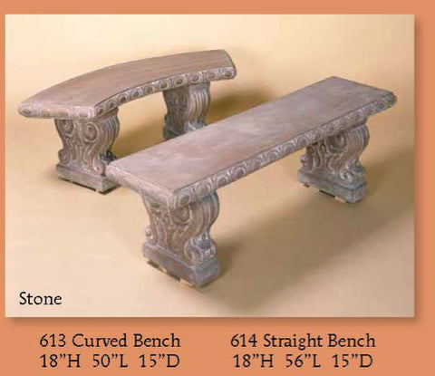 Curved bench and straight bench