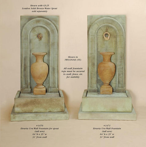 Etruria Urn Wall Fountain ( tall urn)