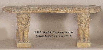 Venice Curved Bench( lion legs)