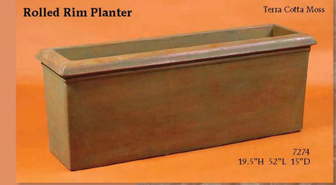 Rolled rim tall planter