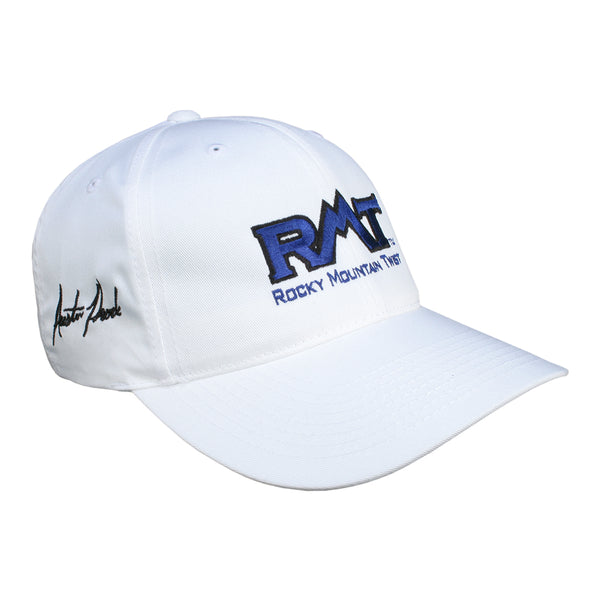 RMT, and John Force Racing strapback hat with Austin Prock signature - front angle view