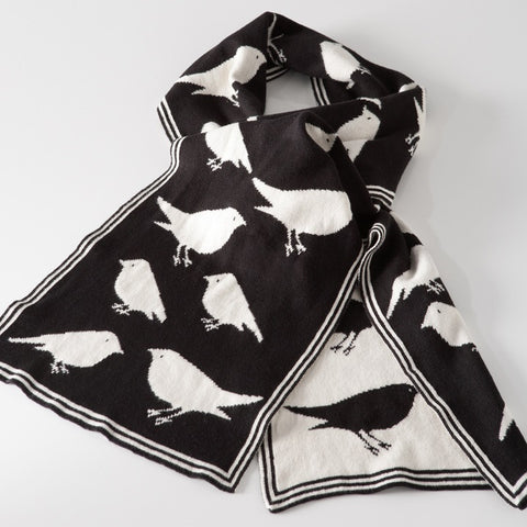 Black Bird Jacquard Scarf