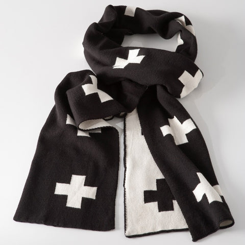 Cross Jacquard Cotton Scarf