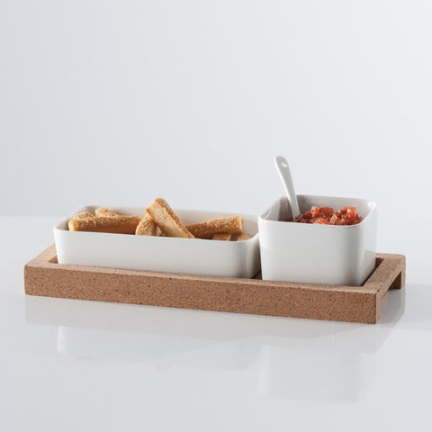 Evora Cork and Ceramic Set of Two Bowls with Spoon