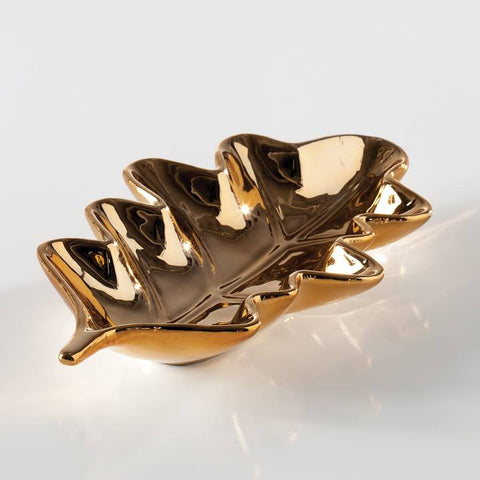 Oak Leaf Ceramic Dish - Gold