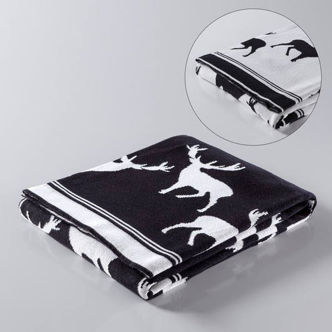 Stag Jacquard Reversible Cotton Throw
