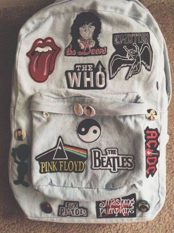 Back pack with embroided patches
