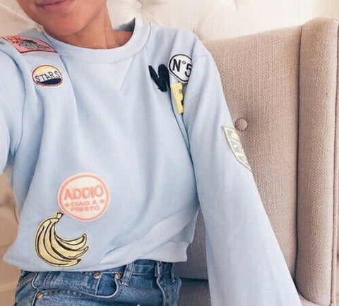 sweatshirt and patches