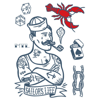 temporary tattoos- l'homme de la mer