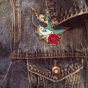 Sparrow patch on a jeans jacket